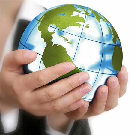 hands holding globe import export services agro